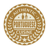 Abstract stamp or label with the text Authentic Portuguese Cuisi — Stock Vector