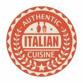 Abstract stamp or label with the text Authentic Italian Cuisine — Stock Vector