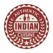 Abstract stamp or label with the text Authentic Indian Cuisine — Stock Vector