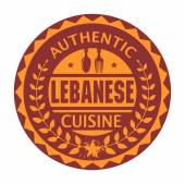 Abstract stamp or label with the text Authentic Lebanese Cuisine — Stock Vector