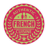Abstract stamp or label with the text Authentic French Cuisine — Stock Vector