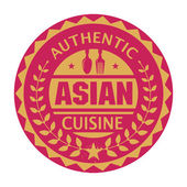 Abstract stamp or label with the text Authentic Asian Cuisine — Stock Vector