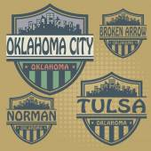 Stamp or label set with names of Oklahoma cities — Cтоковый вектор