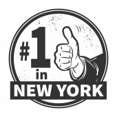 Abstract grunge rubber stamp with text Number One in New York — Stock Vector