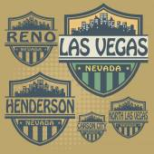 Stamp or label set with names of Nevada cities — Stock Vector