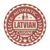 Abstract stamp or label with the text Authentic Latvian Cuisine — Stock Vector