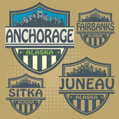 Stamp or label set with names of Alaska cities — Stockvektor