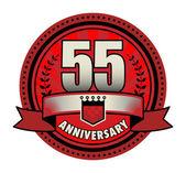Label 55 anniversary, vector illustration — Stock Vector