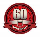 Label 60 anniversary, vector illustration — Stock Vector