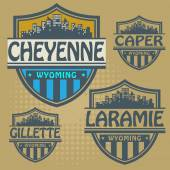 Label set with names of Wyoming cities — Stock Vector
