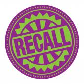 Abstract stamp or label with the text Recall — Stock Vector