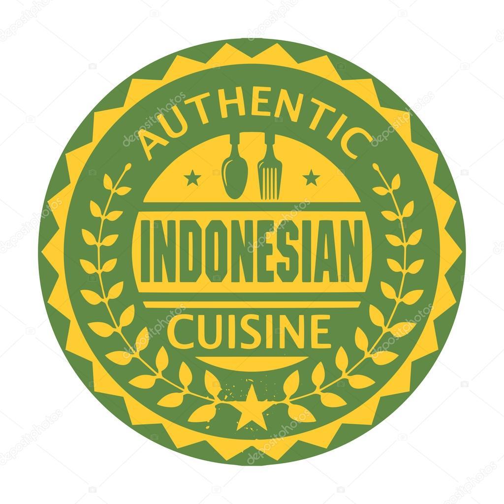 abstrakte briefmarke mit dem text authentische indonesische küche