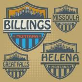 Stamp set with names of Montana cities — Vector de stock