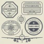 Travel stamps set — Stok Vektör