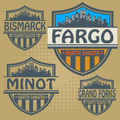 Label set with names of North Dakota cities — Stock Vector