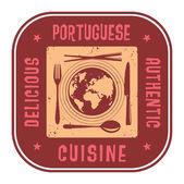 Abstract stamp with the text Delicious, Authentic Portuguese Cui — Stockvektor
