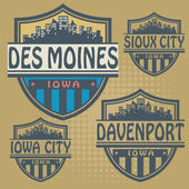 Label set with names of Iowa cities — Stockvector