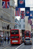 Red double decker buses, London — Stock Photo