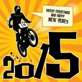 New year motocross race — Stock Vector