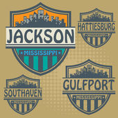 Label set with names of Mississippi cities — Stock Vector