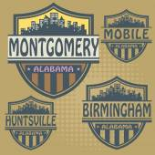 Label set with names of Alabama cities — Stockvector