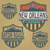 Label set with names of Louisiana cities — Stockvector