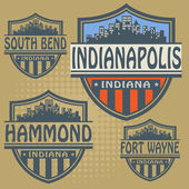 Label set with names of Indiana cities — Stockvector