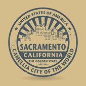 Grunge rubber stamp with name of Sacramento, California — Stock Vector