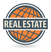 Abstract stamp or label with the text Real Estate — Stock Vector