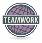 Abstract stamp or label with the text Teamwork — ストックベクタ