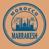 Stamp or label with text Marrakesh, Morocco — Stock Vector