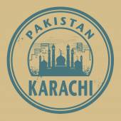 Stamp or label with text Karachi, Pakistan inside — Stock Vector