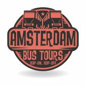Abstract stamp with text Amsterdam, Bus Tours — Stock Vector