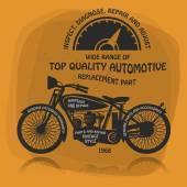 Vintage Motorcycle label or poster — Stok Vektör