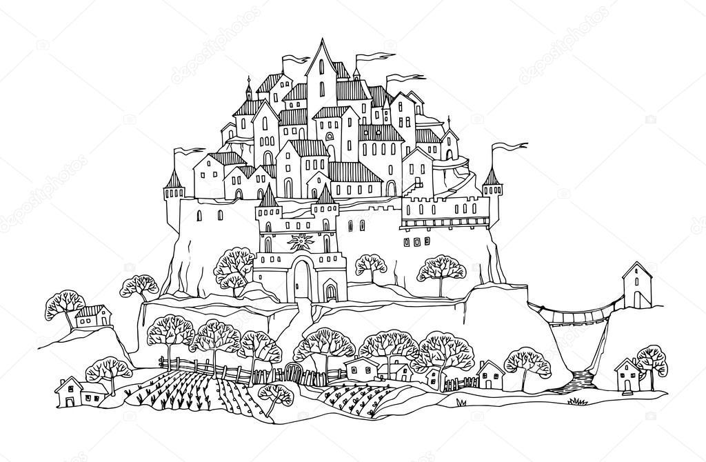 动画城堡简笔画