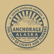 Grunge rubber stamp with name of Anchorage, Alaska — Stok Vektör #58242033