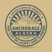 Grunge rubber stamp with name of Anchorage, Alaska — Stock Vector