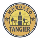 Stamp or label with text Tangier, Morocco inside — Stock Vector