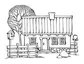 Ruční kresba domy — Stock vektor