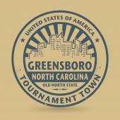 Rubber stamp with name of Greensboro, North Carolina — Stock Vector