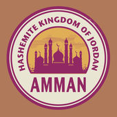 Stamp or label with text Amman, Jordan inside — Stock Vector