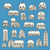 Cartoon hand drawing houses — Stock Vector