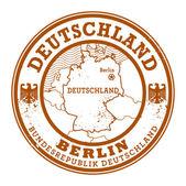 Grunge rubber stamp with words Deutschland, Berlin — Stock Vector