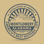 Grunge rubber stamp with name of Montgomery, Alabama — Stock Vector