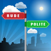 Road sign with words Rude, Polite — Stock Vector