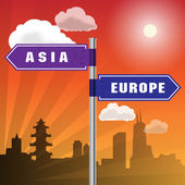 Road sign with words Asia, Europe — Vector de stock