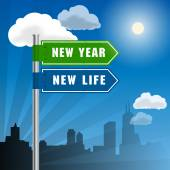 Road sign with words New Year, New Life — Stock Vector