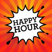 Comic book explosion with text Happy Hour — Stock Vector