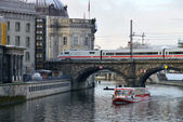 Train on the bridge, Berlin — Stock Photo
