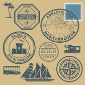 Travel stamps set, Mediterranean — Stock Vector